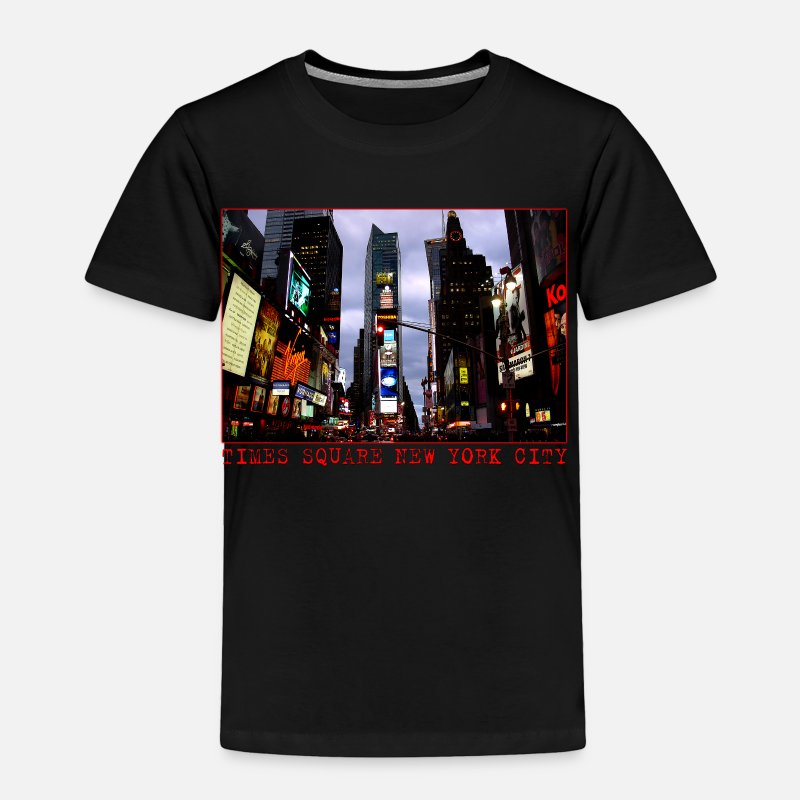 Cityscape Baby Clothing - Times Square New York Souvenirs - Toddler Premium T-Shirt black