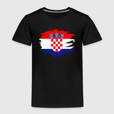 Croatia Paint Splatter Flag Croatian Pride Design - Toddler Premium T-Shirt