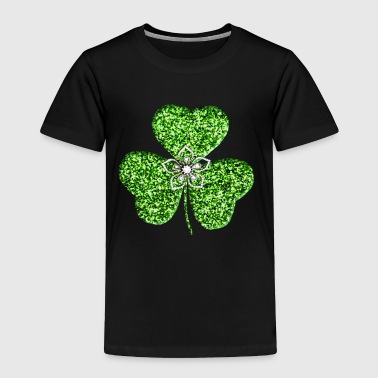 Glitter Shamrock And Flower - Toddler Premium T-Shirt