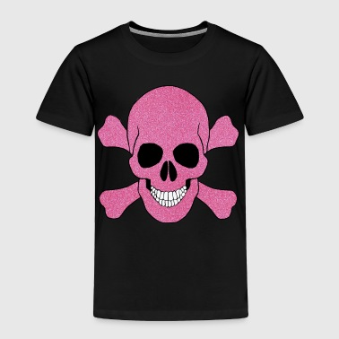 Pink Glitter Skull And Crossbones - Toddler Premium T-Shirt