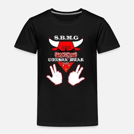 Ontario Baby Clothing - SBMG RED BANDANA BULLS LOGO STRICTLY BUSINESS SBP - Toddler Premium T-Shirt black