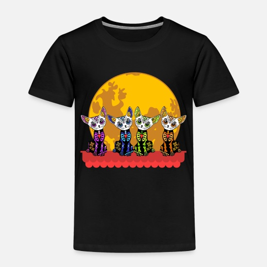 Warrior Baby Clothing - Cats Tribal Moon Colorful Shirt Tshirt Design Is - Toddler Premium T-Shirt black