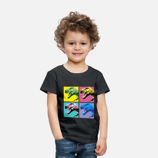Dinosaurs Baby Clothing - T-Rex PopArt A - Toddler Premium T-Shirt black