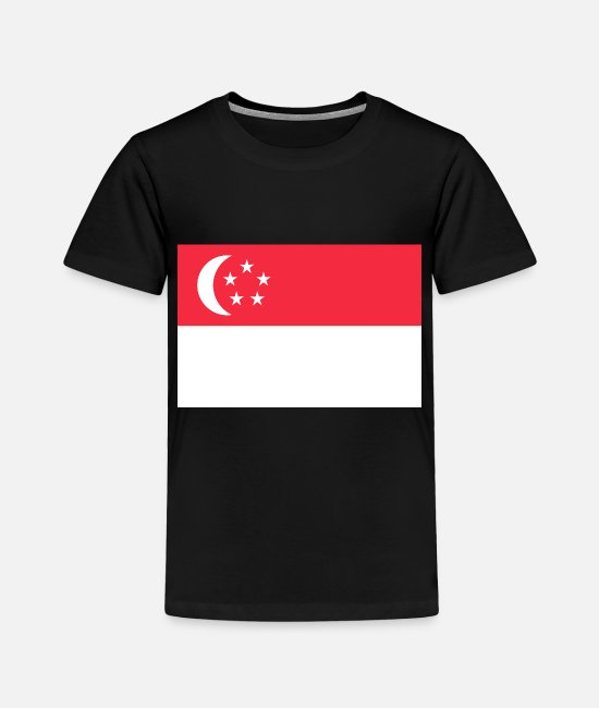 Bangkok T-Shirts - I Love Asian Singapore Flag Land Continent - Toddler Premium T-Shirt black