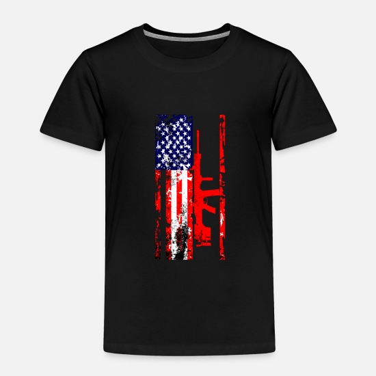 Gun Baby Clothing - American Flag Gun Weapon Bullets Rifle Pistol Gift - Toddler Premium T-Shirt black