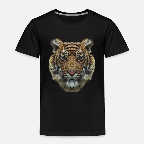 Fashion Baby Clothing - Polygon Tiger Transparent - Toddler Premium T-Shirt black