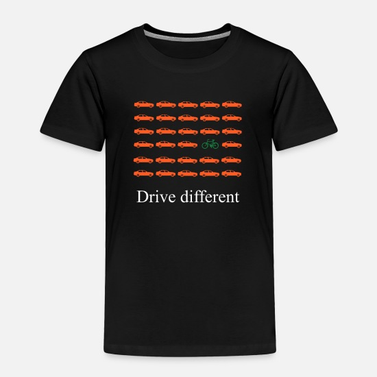 Bike Messenger Baby Clothing - Car or bike: Drive different - Toddler Premium T-Shirt black