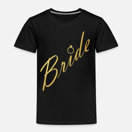 Bachelorette Party Baby Clothing - Gold Bride Design with Wedding Ring Bachelorette Party Design Bride Wedding Bridal Shower Image - Toddler Premium T-Shirt black