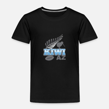 Silver Kiwi AS with silver fern bird and rugby ball - Toddler Premium T-Shirt