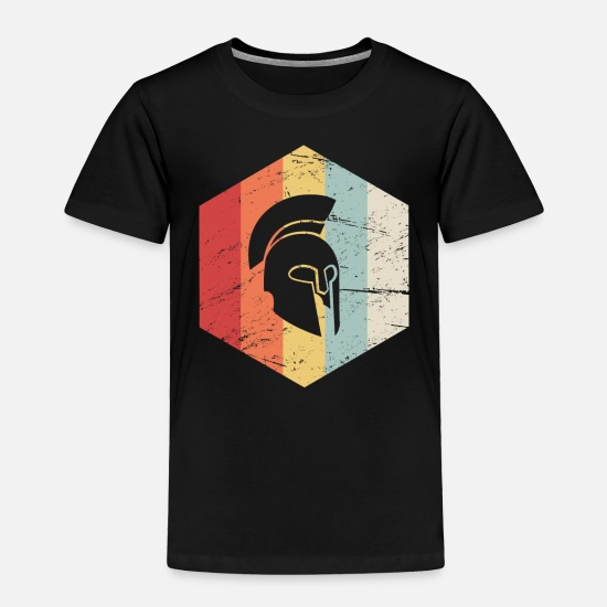 Retro Baby Clothing - Retro Sparta Helmet Icon - Toddler Premium T-Shirt black