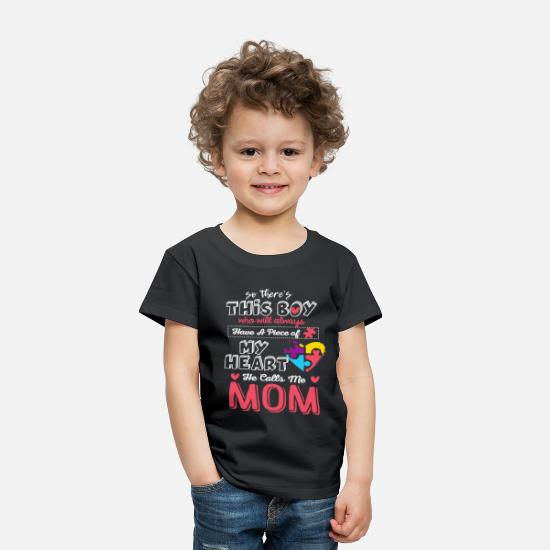 Autism Baby Clothing - He Calls Me Mom Autism Awareness Cute Shirt - Toddler Premium T-Shirt black