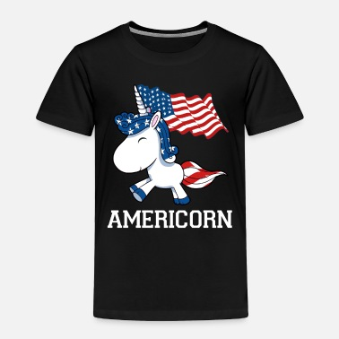 Long America Patriot Unicorn USA Flag 4th Independence - Toddler Premium T-Shirt