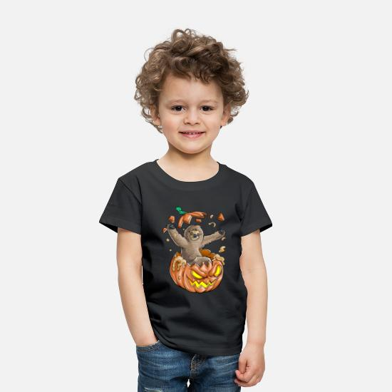Animal Baby Clothing - Sloth Pumpkin Halloween - Toddler Premium T-Shirt black