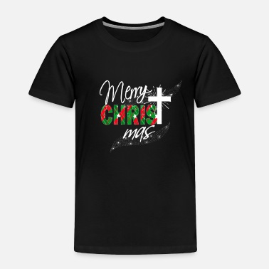 Christmas Christian Christmas Gift Merry Christmas With Cross Plaid - Toddler Premium T-Shirt