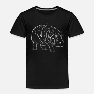 Line Drawing Hippo one line drawing - Toddler Premium T-Shirt