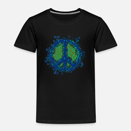 Love Baby Clothing - Unique Peace Sign graphic - Funky Slime 60s 70s - Toddler Premium T-Shirt black