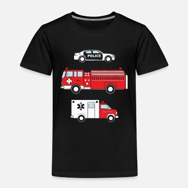 Fire Kids Cute Children s Fire Truck Police Car Ambulan - Toddler Premium T-Shirt