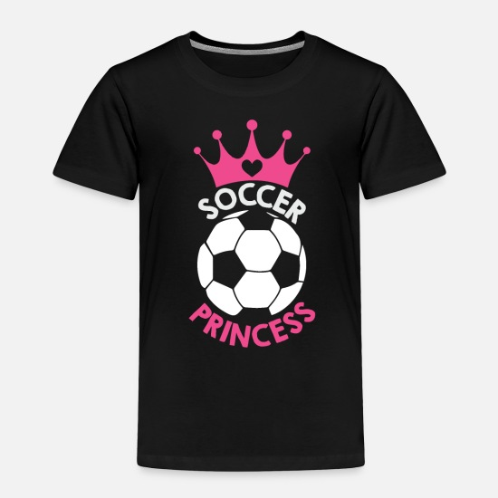 Love Baby Clothing - Soccer Princess Soccer Ball And Hot Pink Crown - Toddler Premium T-Shirt black