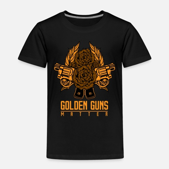 Firearm Baby Clothing - Pistol Golden Gun - Toddler Premium T-Shirt black