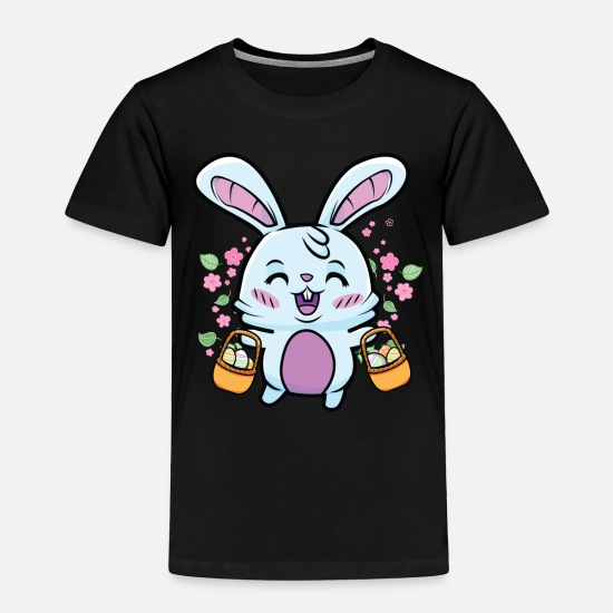 Bunny Baby Clothing - Cute Easter Bunny Egg Hunt Colorful Eggs Hunting - Toddler Premium T-Shirt black