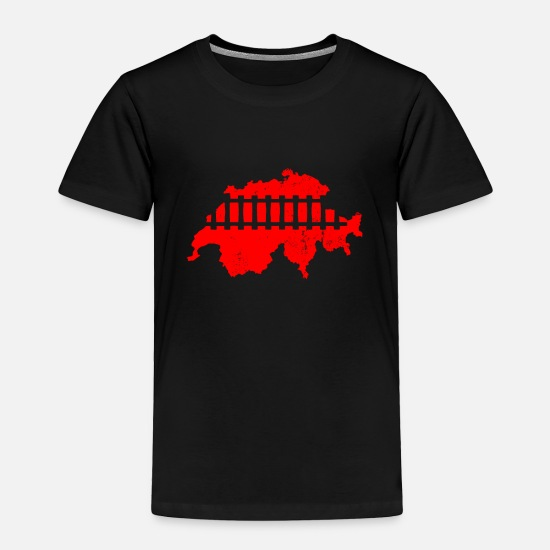 Birthday Baby Clothing - Model Train Switzerland Shirt & Gift - Toddler Premium T-Shirt black