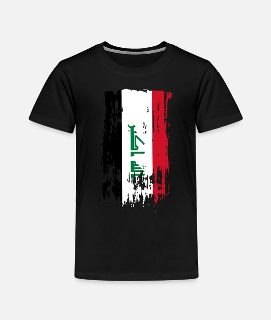 Armenia T-Shirts - IQ IRQ Iraq Flag - Toddler Premium T-Shirt black