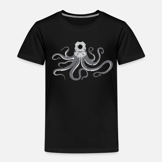 Art Baby Clothing - Retro Scuba Diver Octopus Kraken Squid Ward - Toddler Premium T-Shirt black