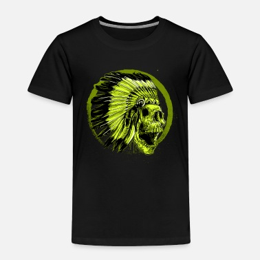 Indian native American, Metal Indian Skull - Toddler Premium T-Shirt