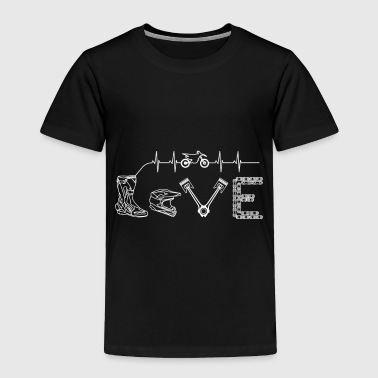 Motocross Tshirt Heartbeat Gift Supermoto Love - Toddler Premium T-Shirt