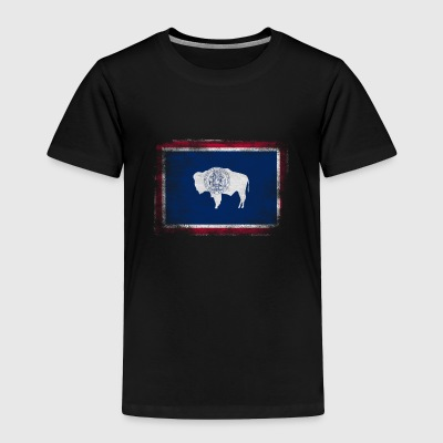 Wyoming State Flag Distressed Vintage Shirt - Toddler Premium T-Shirt