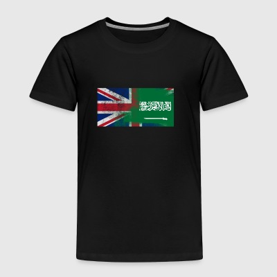 British Saudi Half Saudi Arabia Half UK Flag - Toddler Premium T-Shirt
