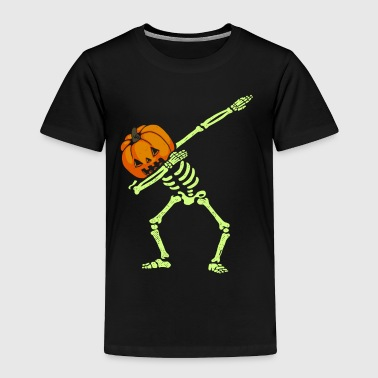 Dabbing Skeleton Pumpkin Halloween - Toddler Premium T-Shirt