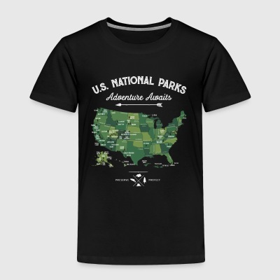 National Park Map Vintage All 59 National Parks - Toddler Premium T-Shirt