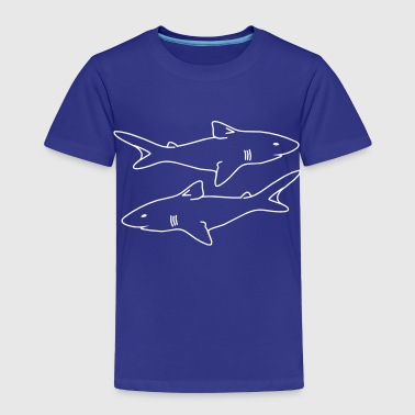 two sharks outlines menacing evil realistic - Toddler Premium T-Shirt