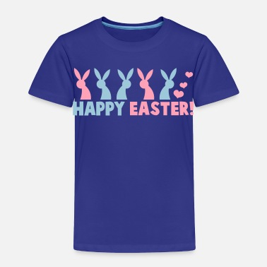 Happy Easter HAPPY EASTER! with a line of rabbits - Toddler Premium T-Shirt
