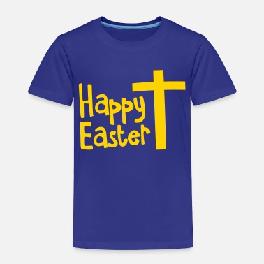 Christian Happy EASTER with a Christian cross - Toddler Premium T-Shirt