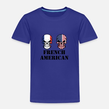 French Flag French American Flag Skulls - Toddler Premium T-Shirt
