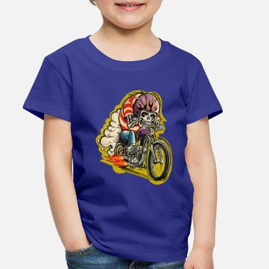 Motorcycle Skull riding a classic motorcycle - Toddler Premium T-Shirt
