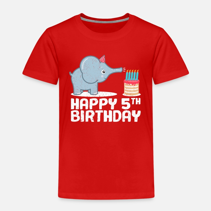 Happy 5th Birthday Cute Elephant Zoo Animal Gift Toddler Premium T Shirt