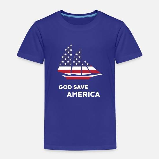 Proud Baby Clothing - Save Amerika sailboat God flag - Toddler Premium T-Shirt royal blue