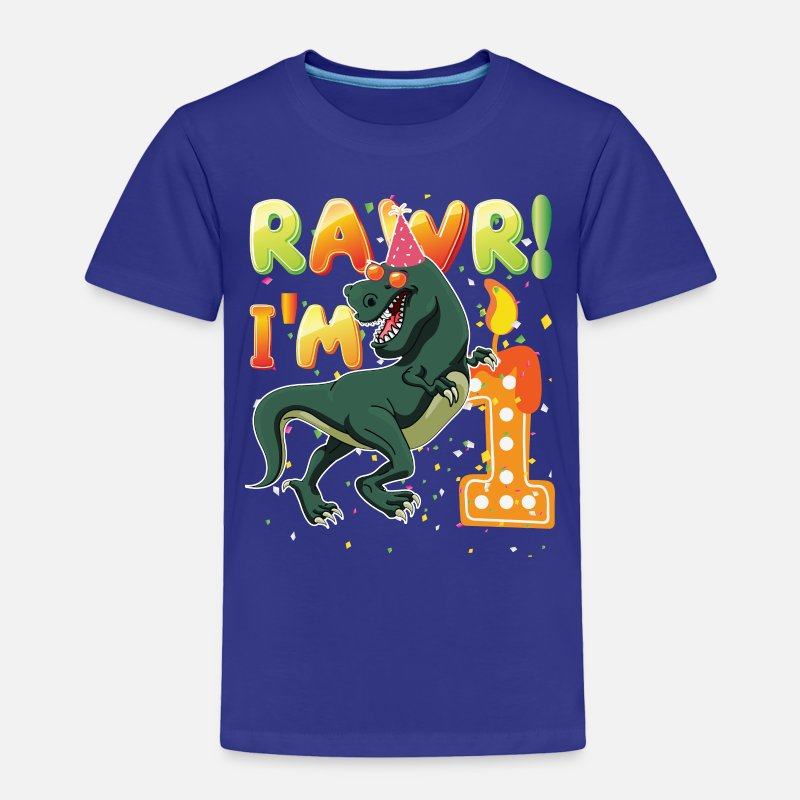 Dinosaur 1st Birthday Shirt 1 Years Old Rawr Im Toddler Premium T