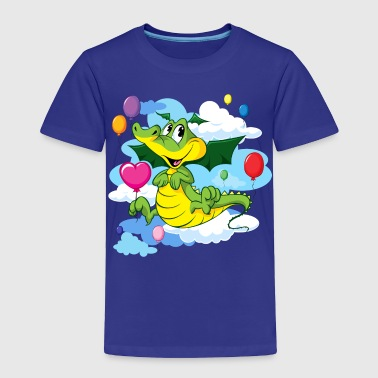 Cute Dragon Fly with Balloon and clouds on sky - Toddler Premium T-Shirt