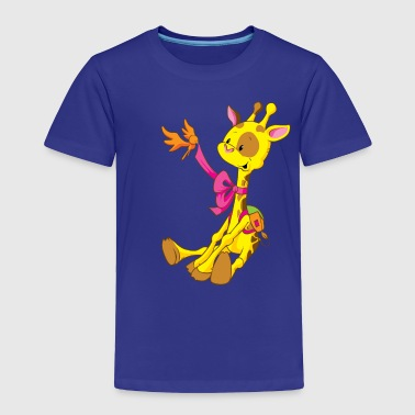 Cute Giraffe Sitting and Kooking at Bird - Toddler Premium T-Shirt