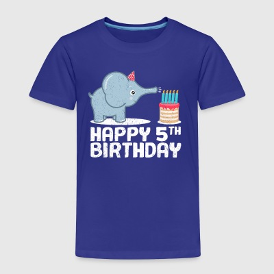 Happy 5th Birthday Cute Elephant Zoo Animal Gift - Toddler Premium T-Shirt