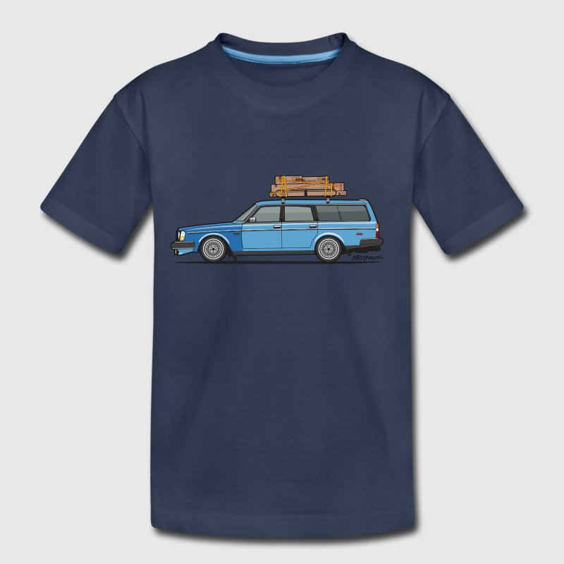 Volvo 245 240 Blue Wagon Brick With Roofrack - Toddler Premium T-Shirt