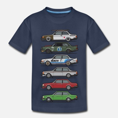 Euro Car Stack of Volvo 240 Series 242 Brick Coupes - Toddler Premium T-Shirt
