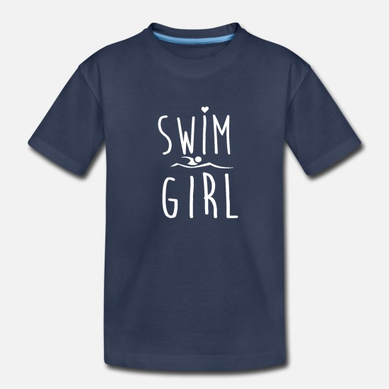 Funny Baby Clothing - Swim Girl Funny Swimming Shirt for Girl Women - Toddler Premium T-Shirt navy