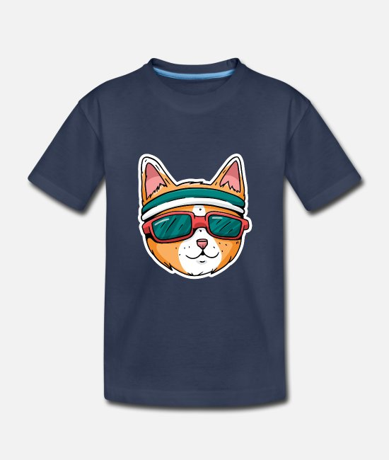 Sunglasses Baby Clothing - Sporty cat with sweatband and sunglasses - Toddler Premium T-Shirt navy