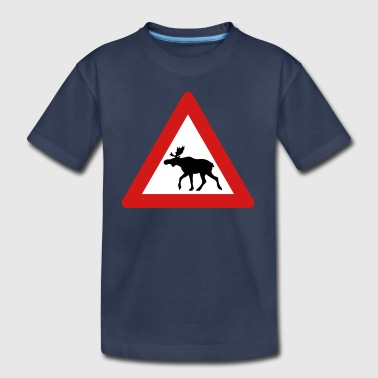 Norwegian Moose Elk Crossing Traffic Sign - Toddler Premium T-Shirt
