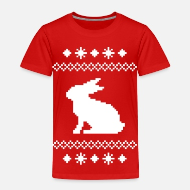 Christmas norwegian bunny christmas rabbit hare knitting pattern winter snowflake snow crystal frost snow flower cony leveret - Toddler Premium T-Shirt